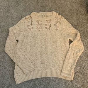 Sundance Knitted Sweater Beige Cotton Laced